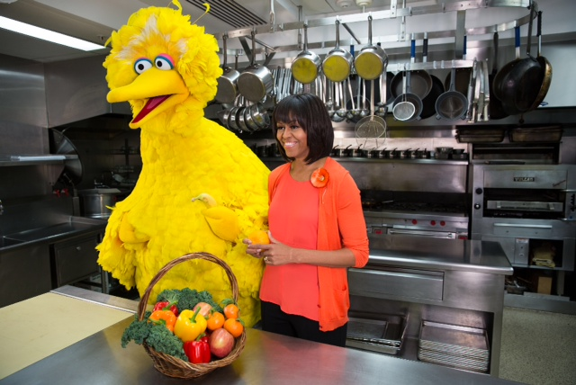 First Lady Michelle Obama and Big Bird teamed up to film two public service announcements encouraging kids to eat healthy and get active.