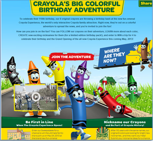 4 Crayolas Big Colorful Birthday Adventure 110 Years!!!
