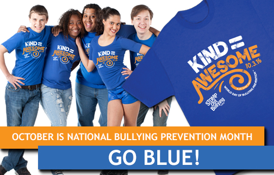 STOMP Out and Step Up to Bullying - Oct. 3 Blue Shirt Day #STOMPOutBullying!
